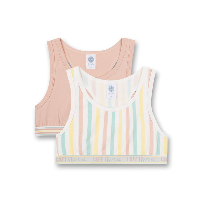 SANETTA Girls' Bustier (Double Pack) Yellow and Pink Japanese Summer