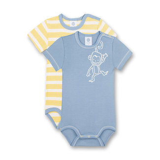 SANETTA Body short sleeve (double pack) blue and yellow monkey