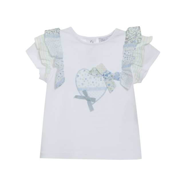 PATACHOU WHITE JERSEY T-SHIRT WITH HEART & BOWS