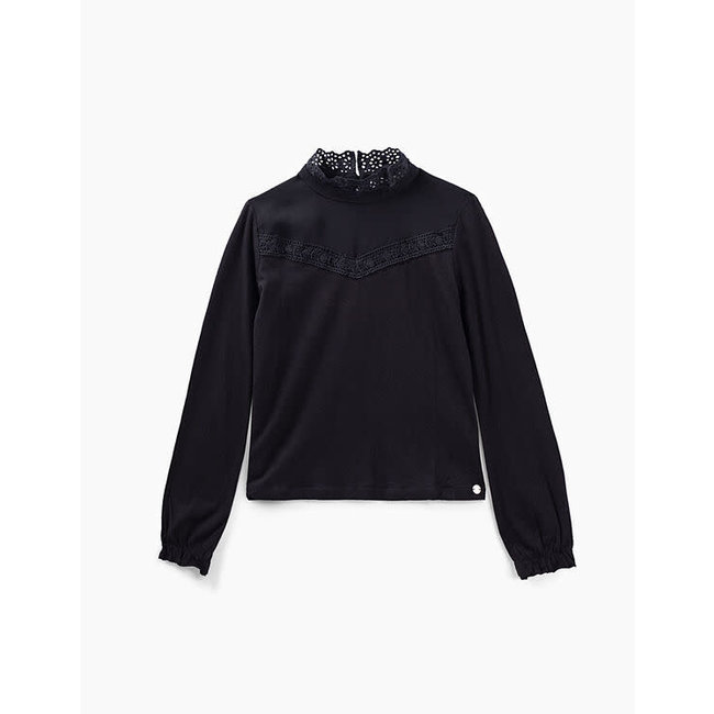IKKS GIRLS' BLACK T-SHIRT WITH LACE COLLAR