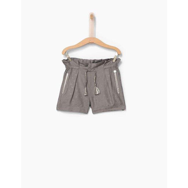IKKS Girls' grey minimalist Jacquard flowing shorts