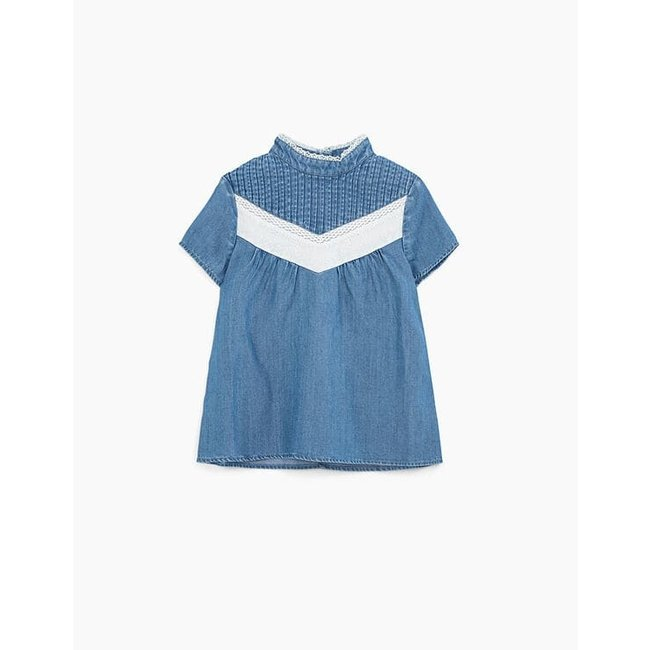 IKKS GIRLS' LIGHT BLUE BLOUSE WITH LACE