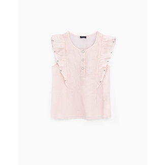 IKKS GIRLS' LIGHT PINK BLOUSE WITH RUFFLES AND EMBROIDERY