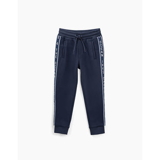 IKKS BOYS' NAVY KNIT JOGGERS WITH SIDE BANDS