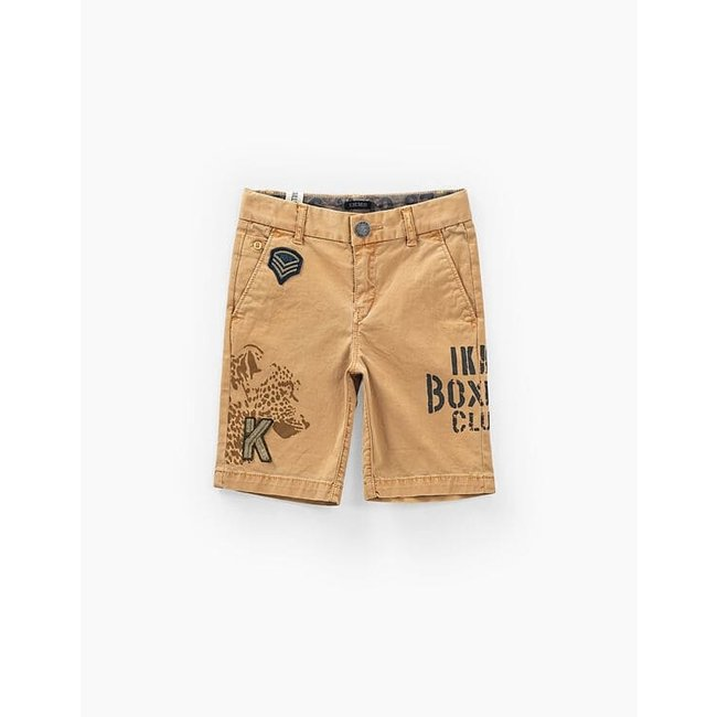 IKKS BOYS' OCHRE CHINO BERMUDAS WITH PRINT AND PATCHES