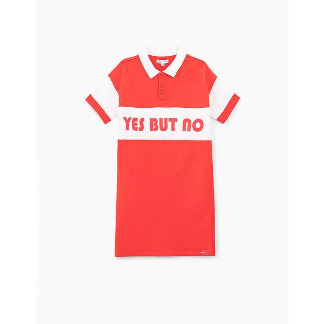 IKKS GIRLS' MEDIUM RED SLOGAN POLO SHIRT DRESS