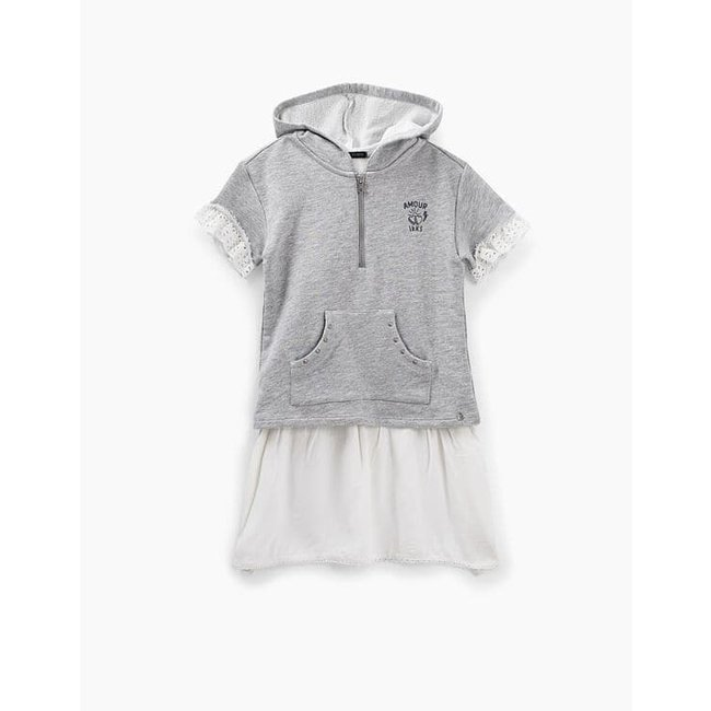 IKKS GIRLS' GREY AND WHITE TROMPE-L'ŒIL SWEATSHIRT DRESS