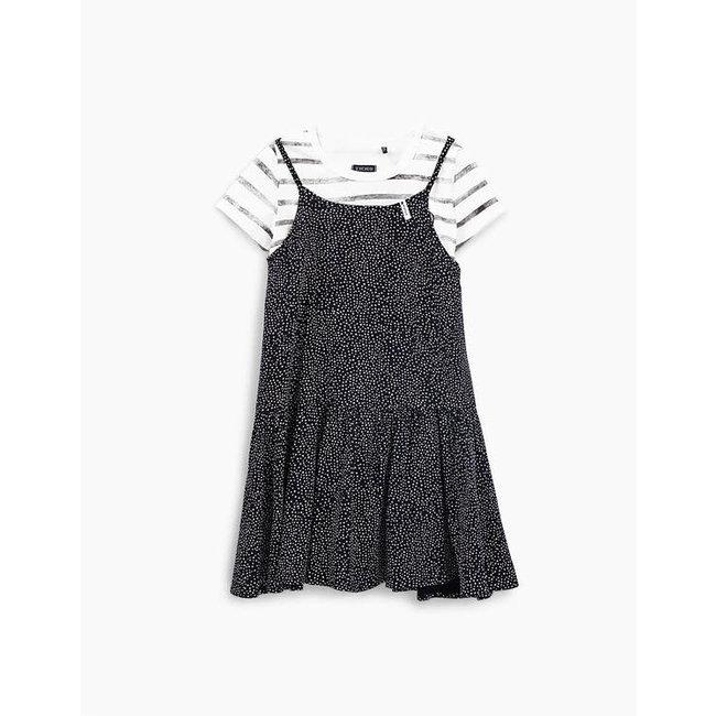 IKKS GIRLS' BLACK 2-IN-1 STAR PRINT DRESS WITH STRIPED T-SHIRT