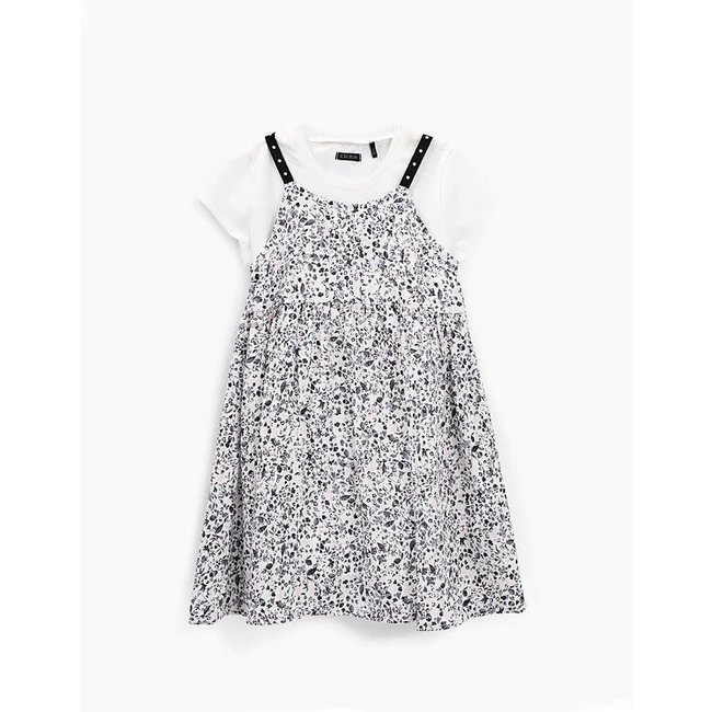 IKKS GIRLS' WHITE 2-IN-1 TACHIST PRINT DRESS AND T-SHIRT