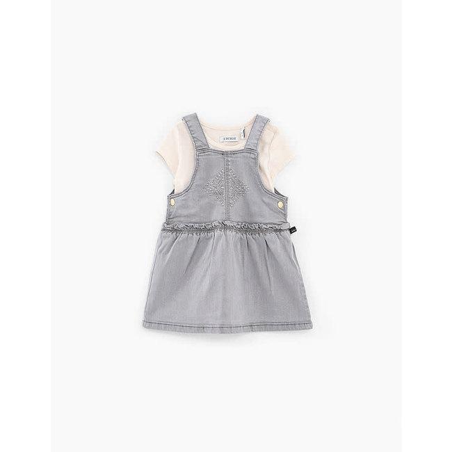 IKKS Baby girls' bleach grey embroidered dress and T-shirt set