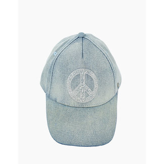 IKKS GIRLS' LIGHT BLUE PEACE AND LOVE EMBROIDERED CAP