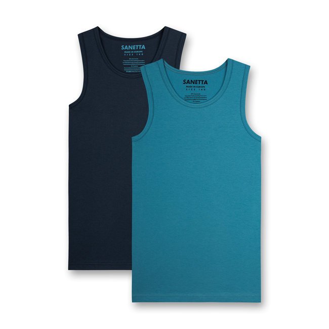 SANETTA Boys undershirt (double pack) blue and dark blue
