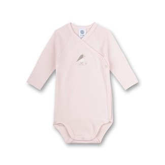 SANETTA Pink bodysuit with birdie embroidery