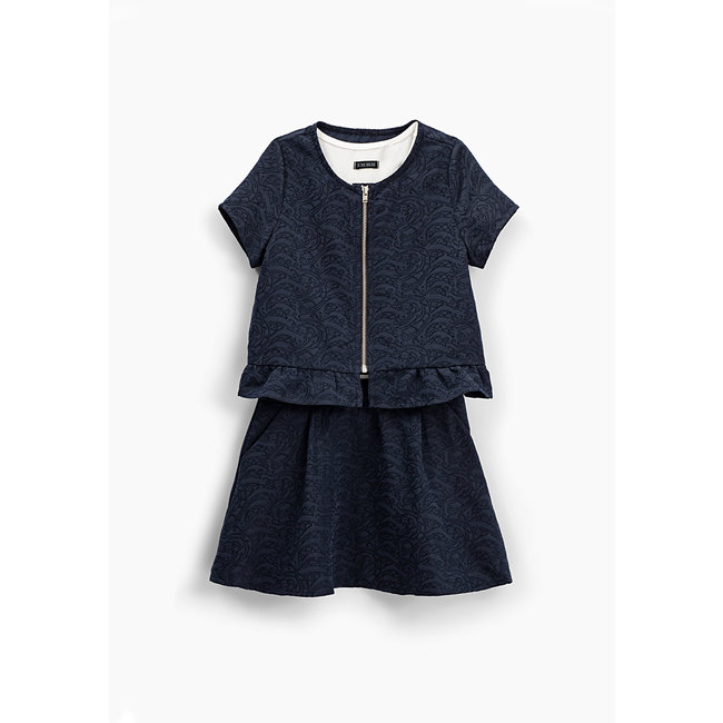 IKKS GIRLS' NAVY 2-IN-1 DRESS WITH ZIPPED TOP
