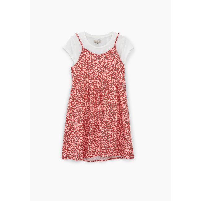 IKKS GIRLS' MEDIUM RED 2-IN-1 PRINTED DRESS AND T-SHIRT