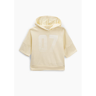 IKKS GIRLS' PASTEL YELLOW HOODIE WITH STRIPED NUMBER