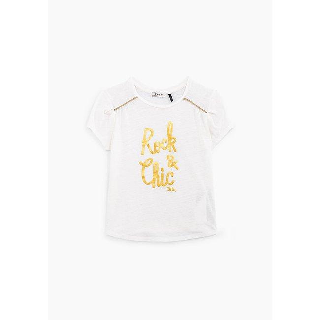 IKKS GIRLS' OFF-WHITE T-SHIRT WITH GOLD SLOGAN