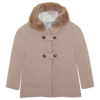 PATACHOU Girl Camel Beige Flannel Coat