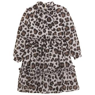 PATACHOU Girl Camel Leopard Print Dress