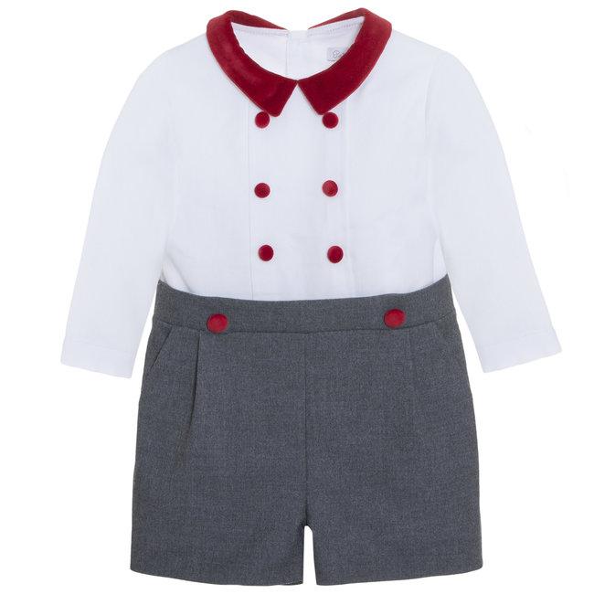 PATACHOU Special Occasion Boy Grey Flannel Romper