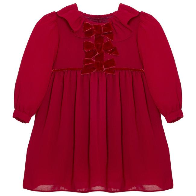 PATACHOU Mini Girl Royal Red Chiffon Dress