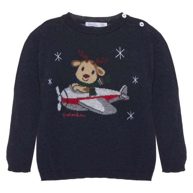 PATACHOU Mini Boy Tartan Navy Tricot Sweater