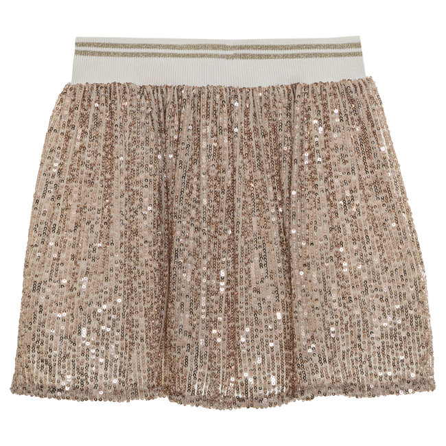 PATACHOU Girl Ivory Rose Gold Sequins Skirt