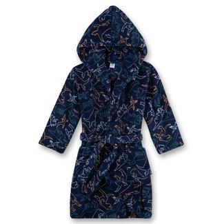SANETTA Boys bathrobe blue dinosaur allover