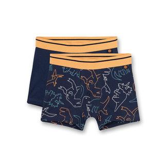 SANETTA Boys hip shorts (double pack) blue dino