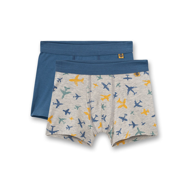 SANETTA Boys hip shorts (double pack) gray melange and blue tarpaulin