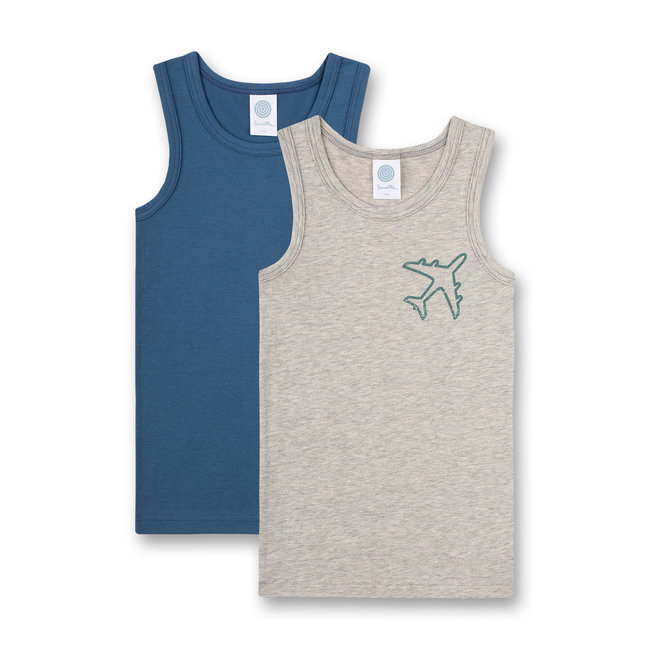SANETTA Boys undershirt (double pack) gray melange and blue tarpaulin