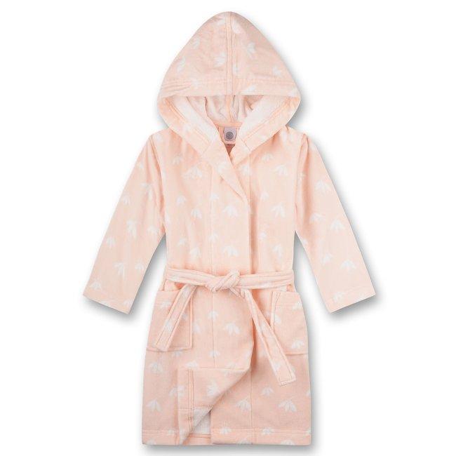 SANETTA Girls bathrobe allover pink white leaf
