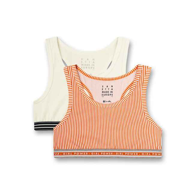 SANETTA Girls' bustier (double pack) orange and white athleisure workout