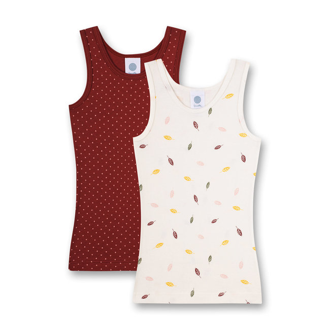 SANETTA Girls' undershirt (double pack) Off-White and Red Back to Nature