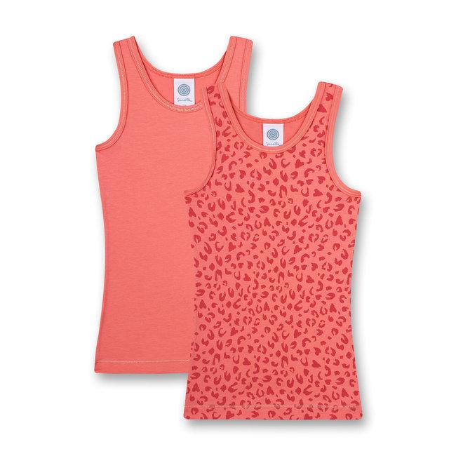 SANETTA Girls' undershirt (double pack) Pink Fancy Cat