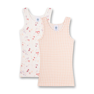 SANETTA Girls' undershirt (double pack) pink vichy check and off-white
