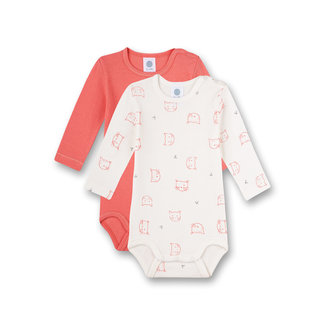 SANETTA Long-sleeved body (double pack) Off-White and Pink Tiny Leopard
