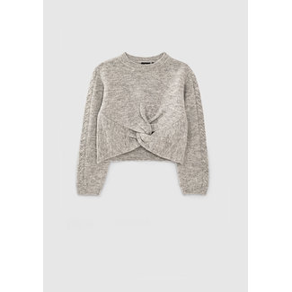IKKS GIRLS' MID-GREY MARL KNIT SWEATER WITH TWISTED BOW