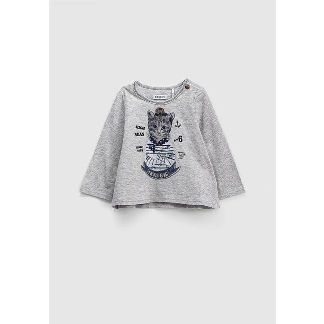 IKKS Girls' mid-grey marl cat in sailor top graphic T-shirt