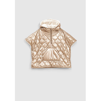 IKKS GIRLS' GOLD QUILTED AND FUR-LINED PADDED JACKET-STYLE CAPE