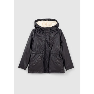 IKKS GIRLS' DARK NAVY PRINTED RUBBER AND FUR-LINED WAXED JACKET