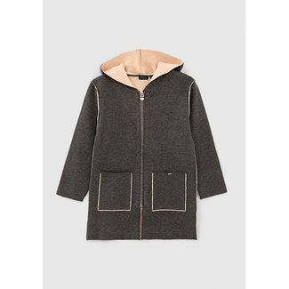 IKKS GIRLS' CHARCOAL GREY MARL AND PALE PINK LONG CARDIGAN