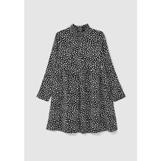 IKKS GIRLS' BLACK TACHIST PRINT SMOCKED COLLAR DRESS