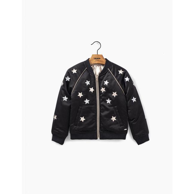 IKKS Girls' black reversible jacket with stars