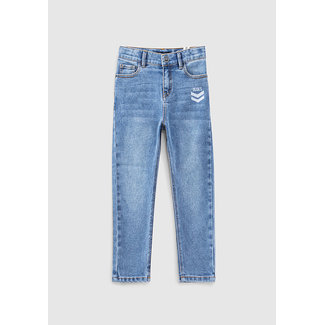 IKKS BOYS' LIGHT BLUE REPREVE DAD FIT JEANS WITH PRINT