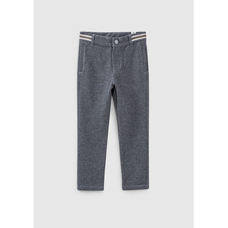 IKKS BOYS' CHARCOAL GREY KNIT TROUSERS WITH STRIPED WAISTBAND