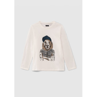 IKKS BOYS' OFF-WHITE LION IN SAILOR TOP DRAWING T-SHIRT