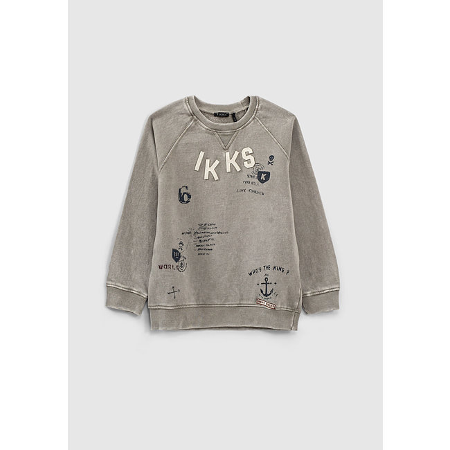 IKKS BOYS' MID-GREY MARL LETTER PATCHES AND PRINT SWEATSHIRT