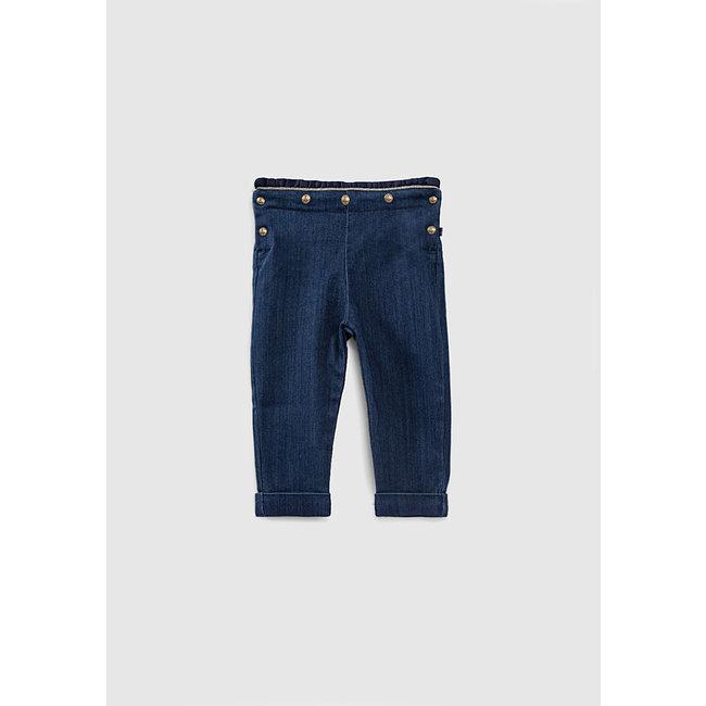 IKKS Baby girls' vintage blue ruffled sailor jeans