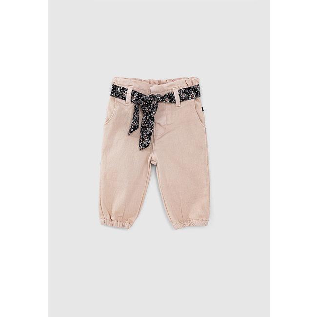IKKS Baby girls' powder pink jeans with scarf belt